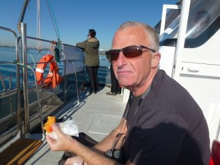 Iain onboard (eating fruit not pies!)