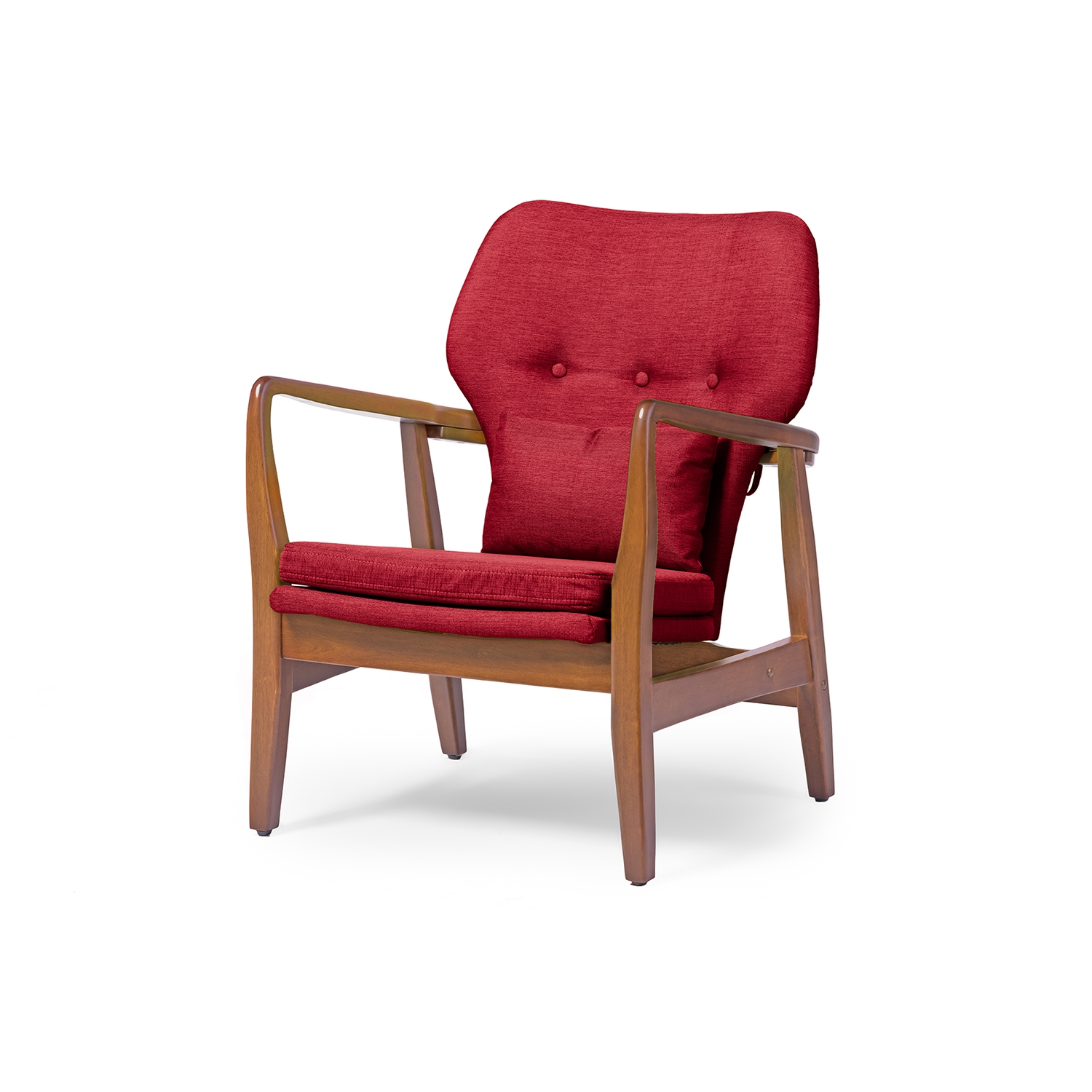 Retro Accent Chairs Baxton Studio Rundell Mid Century Modern Retro Red Fabric