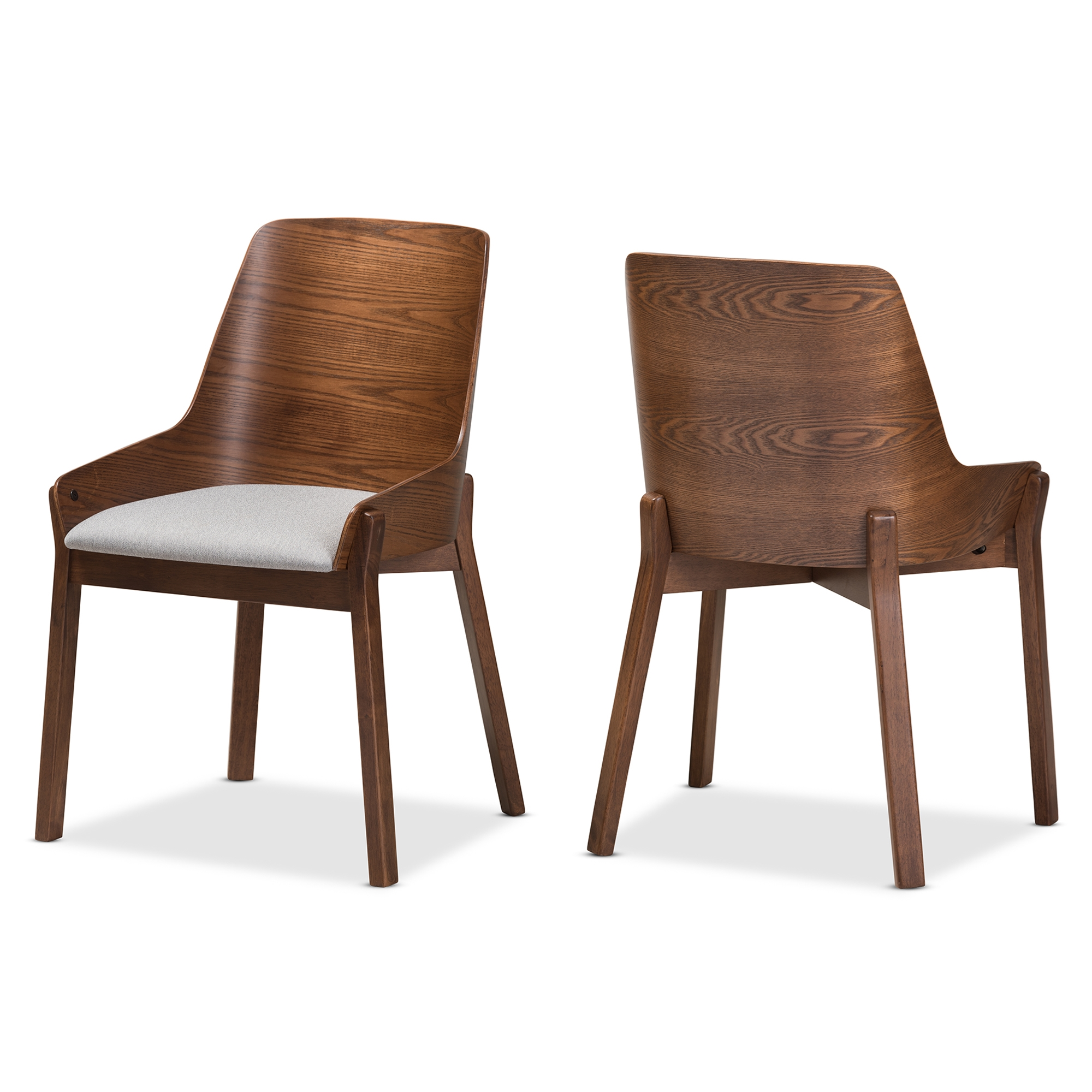 Grey Wood Dining Chairs Baxton Studio Rye Mid Century Modern Walnut Wood Light