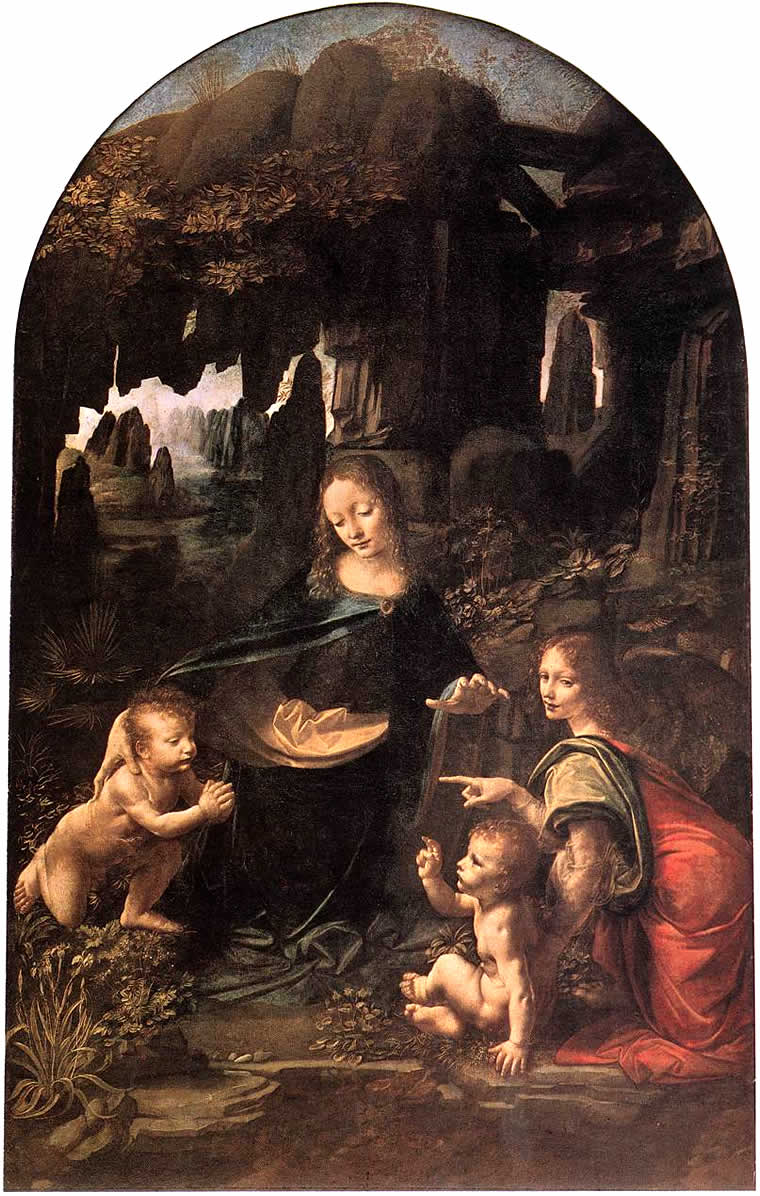 Virgin of the Rocks, Leonardo da Vinci, Louvre Müzesi, Paris, Fransa