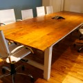 Reclaimed farmhouse conference room table bay area custom furniture