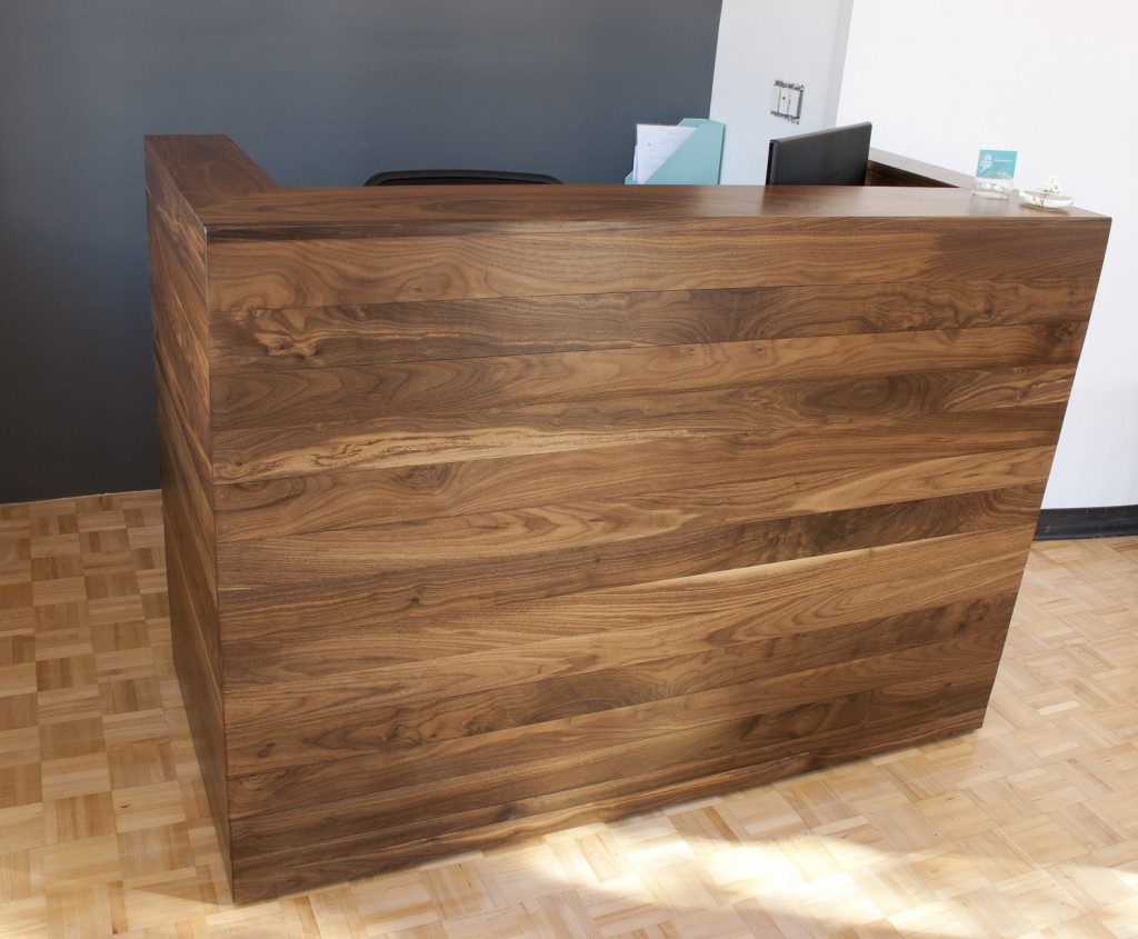 kitchen table small bar with stools solid walnut reception desk | bay area custom furniture