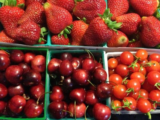 strawberries cherries and tomatoes