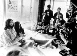 John and Yoko meet the press during the Bed-In For Peace in Montreal.