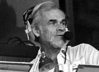 Bill King in the Raiders radio booth (photo)