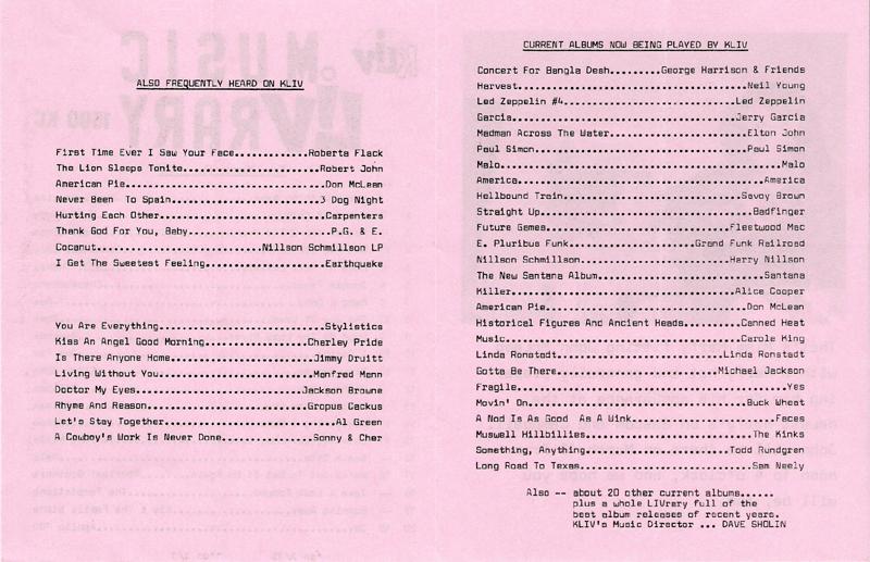 KLIV Music Survey (Image)