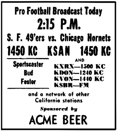 KSAN 1949 Print Ad (Image)