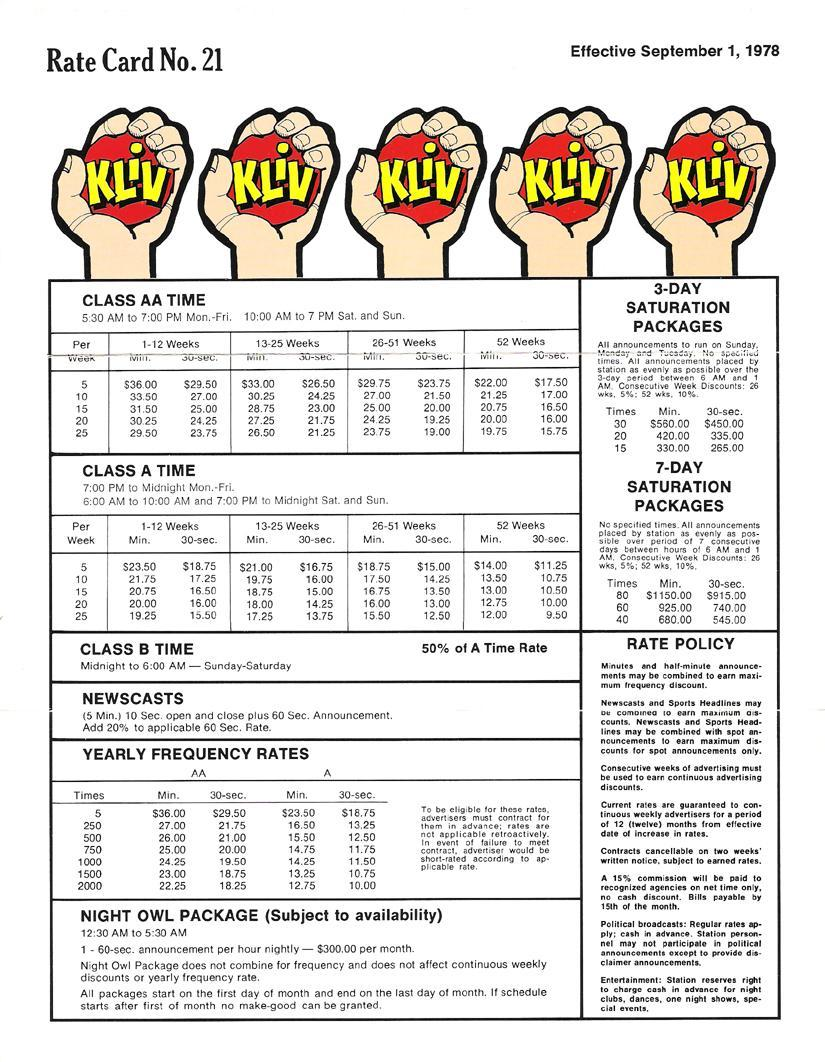 kliv_rate-card_sept-1978_a