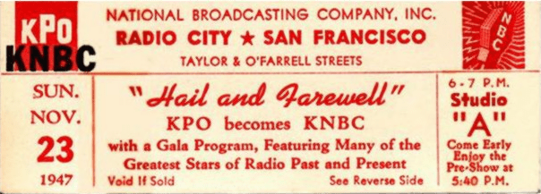KPO-KNBC Hail and Farewell Ticket (Image)