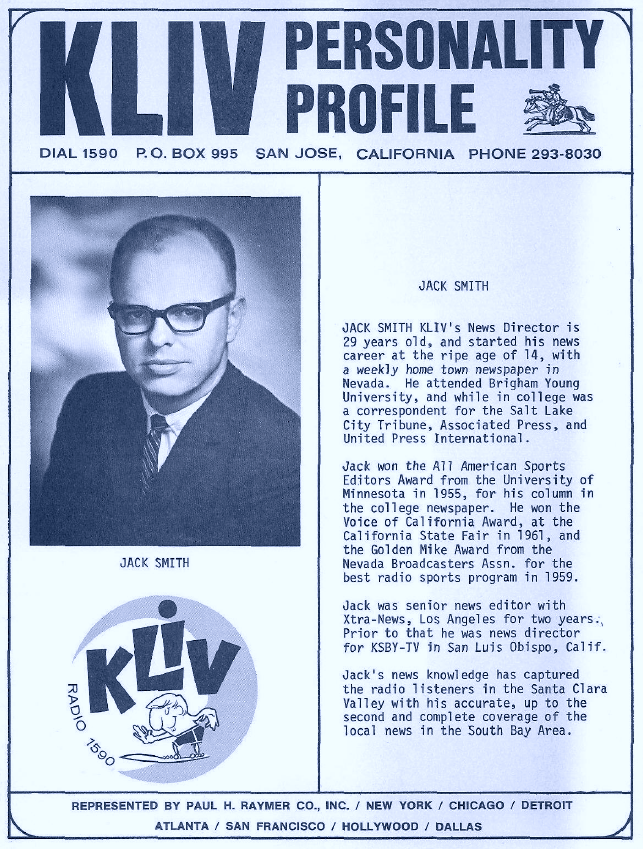 Kliv Radio San Jose Jack Smith Personality Profile 1966 Bay Area Radio Museum