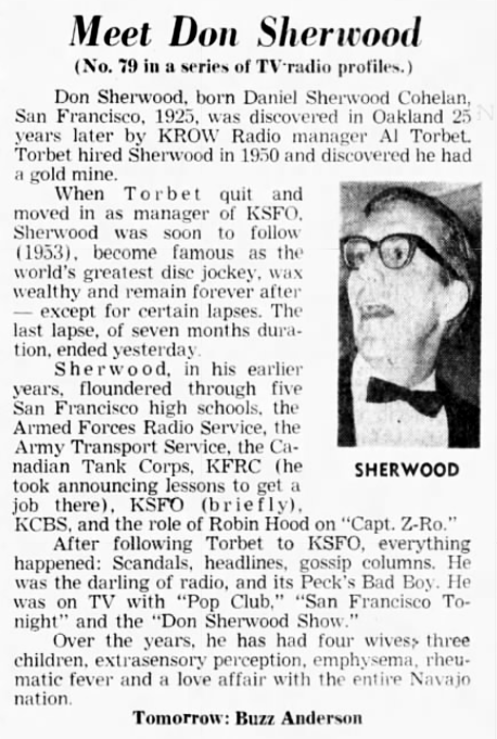 1967 KSFO Don Sherwood Article (Image)
