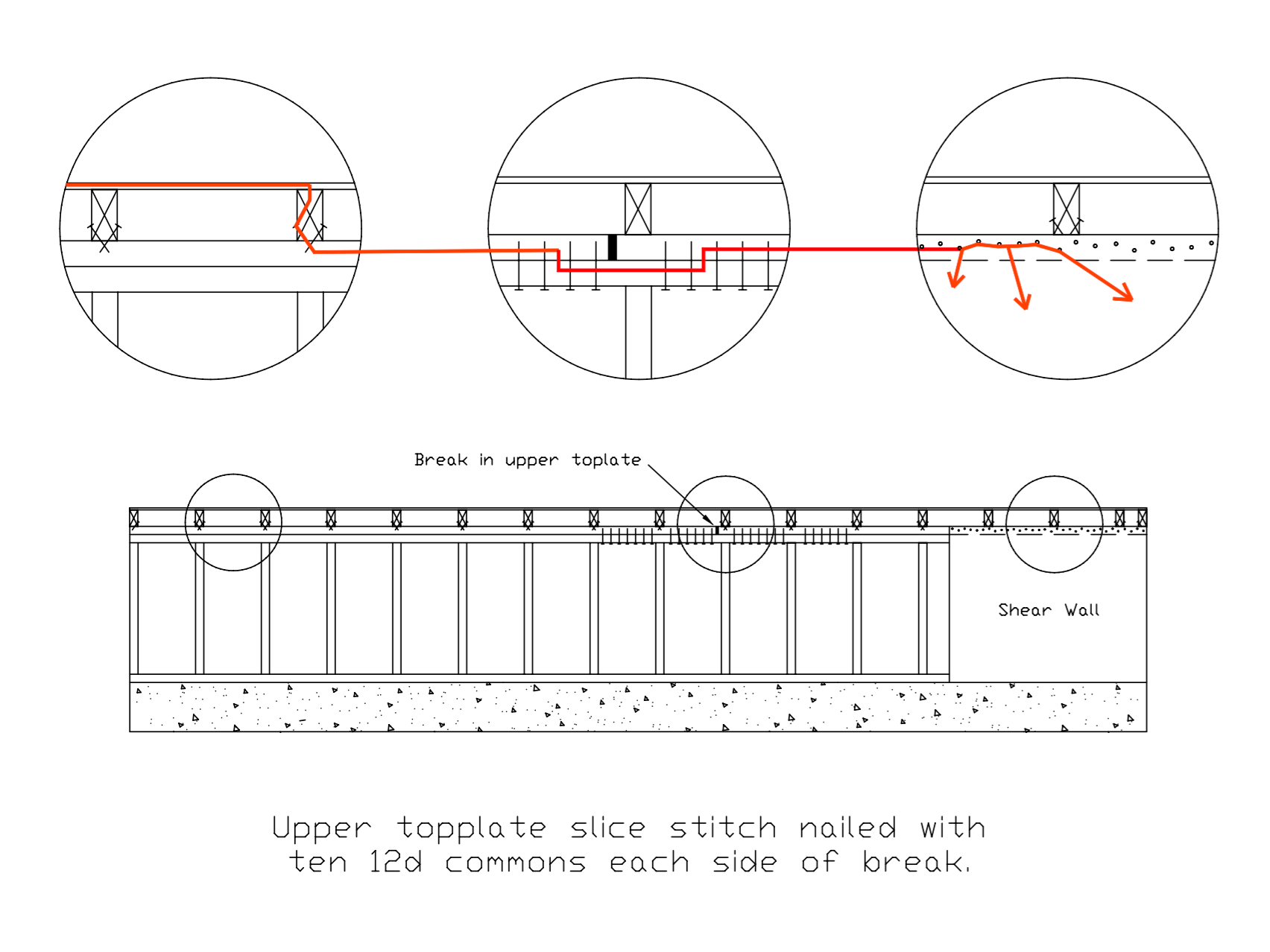 hight resolution of pull on shear wall close up