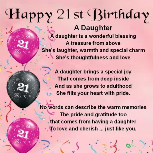 21st birthday wishes daughter