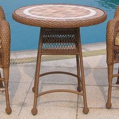 3 Piece Outdoor Table And Chairs High Back Wicker In Stock Bar Set