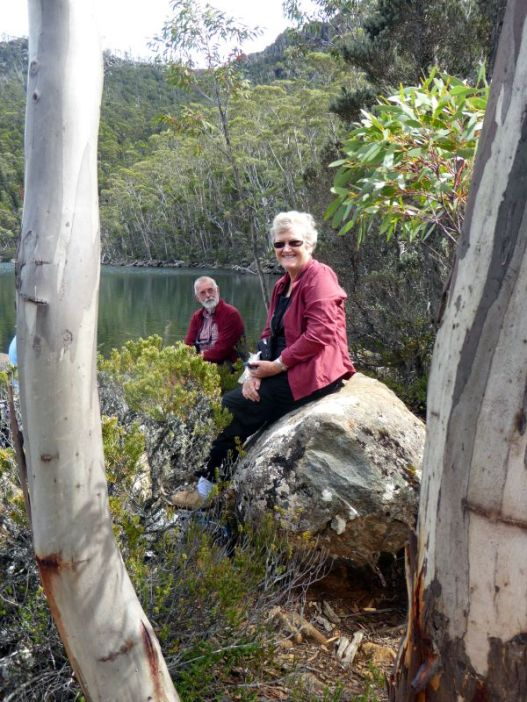 Helen and Bob at the small cirque Lake Nicholls in Mt Field National Park