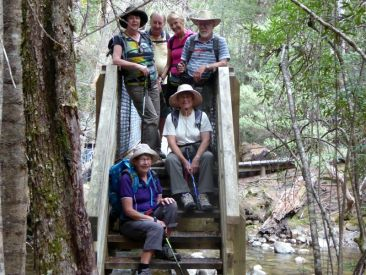 Elizabeth, John, Elaine, Geoff, Jean and Lesley on Shadow Lake Walk, Lake St Clair National Park