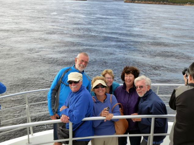 Safari Leaders, John and Jill with Bob, Lesley, Elizabeth and Geoff on the Gordon River near Strahan