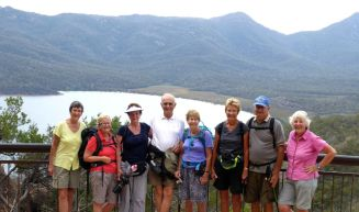 Heather, Kay, Gerri, Dave, Lesley, Elaine, John and Donna at Wineglass Bay Lookout, Freycinet National Park
