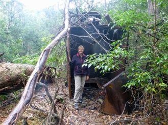 Karen explores rusting hopper