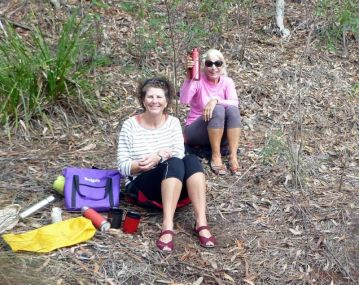 Linda and Sharon enjoy lunch on firmer ground