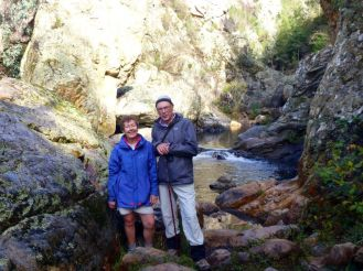 Glen and Rodney at Micalong Creek cascades