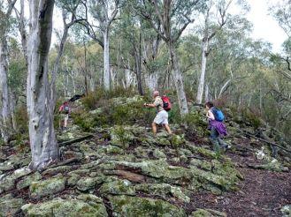 Bob and Susan climb through lichen covered rocks