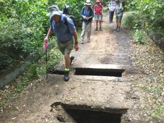 Len tackles the crumbling bridge on Old Bolaro Road