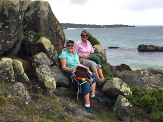 Gillian and Barbara enjoying the view at Bingie Point