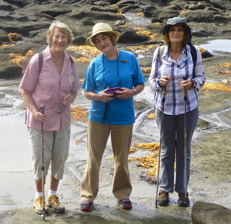 Barbara, Joan and Denise rock scrambling on Broulee Island