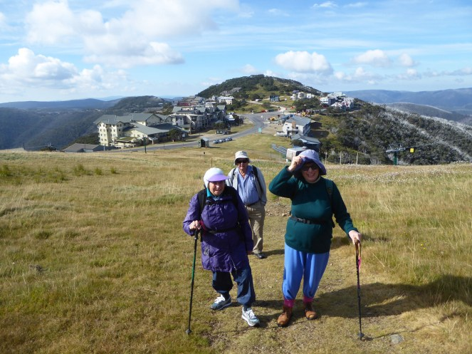 Bev, Marion and Len leaving Hotham Village