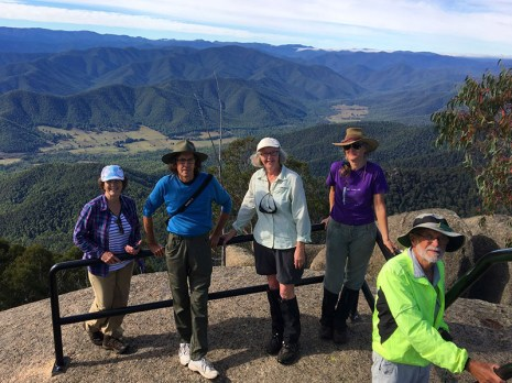 Lin, Phiiip, Mary M, Erika and Stan with the magnificent backdrop of the Buckland Valley