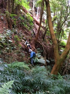 Val and Rob negotiate the last few metres to the first mine site.