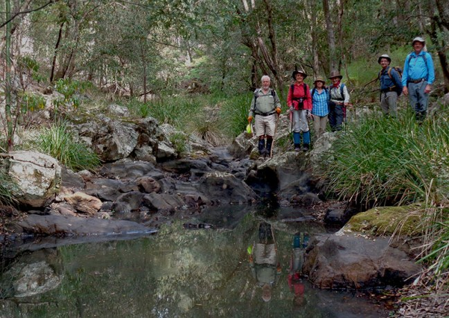 Bob, the leader with walkers on Mullendaree Creek