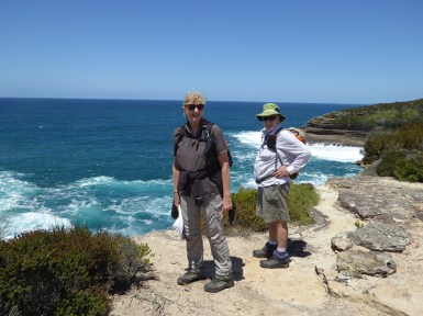 Leader Karen and Bob stand on the edge.