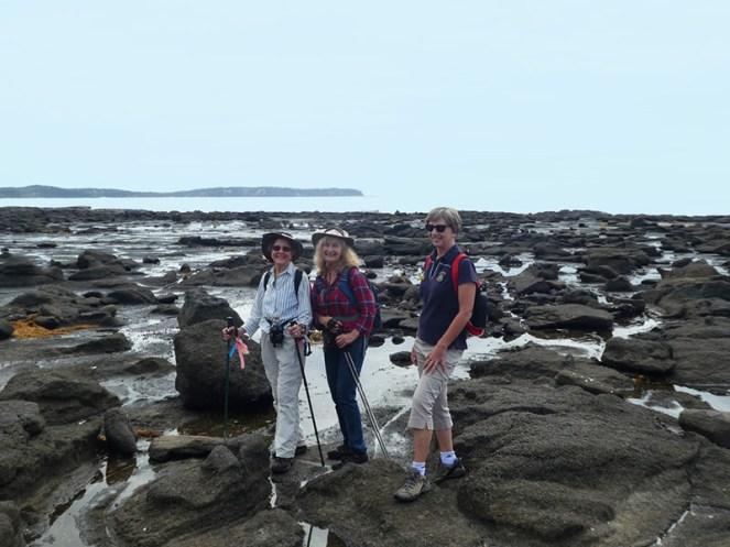 Leader Betty with Carol and Judith on the rock platform.