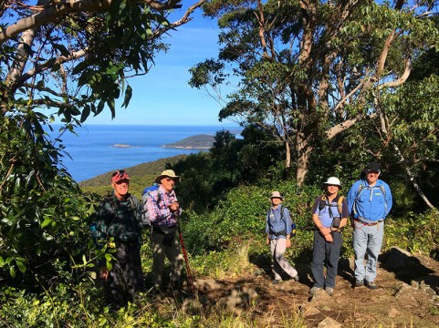 Brian, Leader Rodney, Barry, Helen, and Rob at the viewpoint on Durras Mountain.