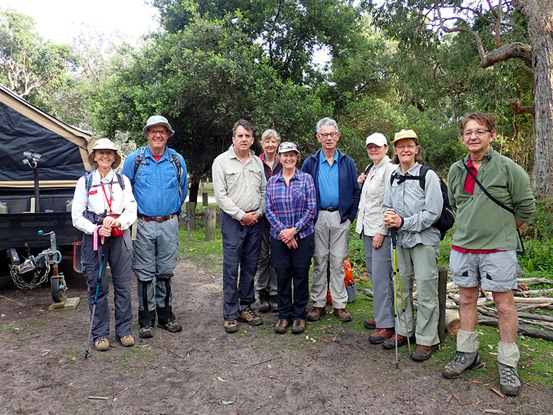 Participants Mary, Rob, Philip, Karen, Lyn, Ian, Donna, Bronwyn and leader Barry starting out to walk from Ben Boyd Tower to Saltwater creek camp site.