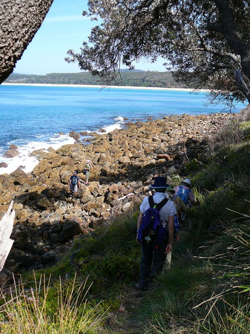 Several walkers took the rocky low road, while others took the higher bush track.