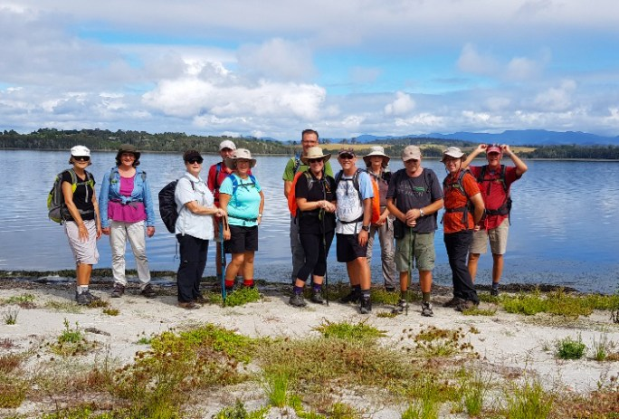 The group on Coila Lake foreshore.