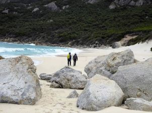 Wilsons Prom - white sands and aqua water - even on an overcast day