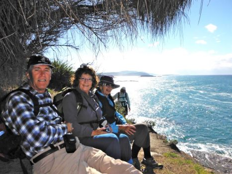 On a headland in Murramarang with Brian and Pat