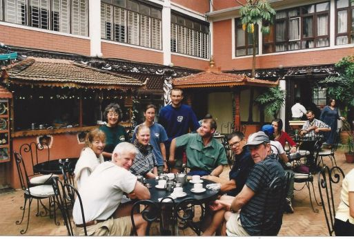 2000 Val and Pat with group of walkers in Kathmandu following descent from Kalar Patar