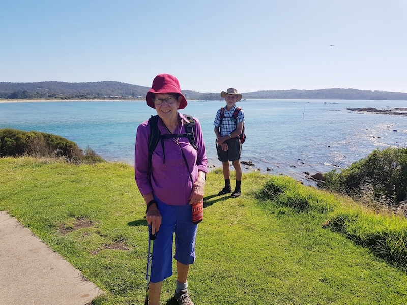 Lesley and Geoff social distancing on the Mossy Point headland