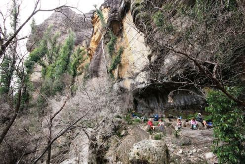 Camping under the cliffline