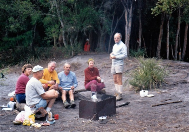 1986 Overnight camp at Wilsons Prom - Grant is standing with Meriel seated next to him