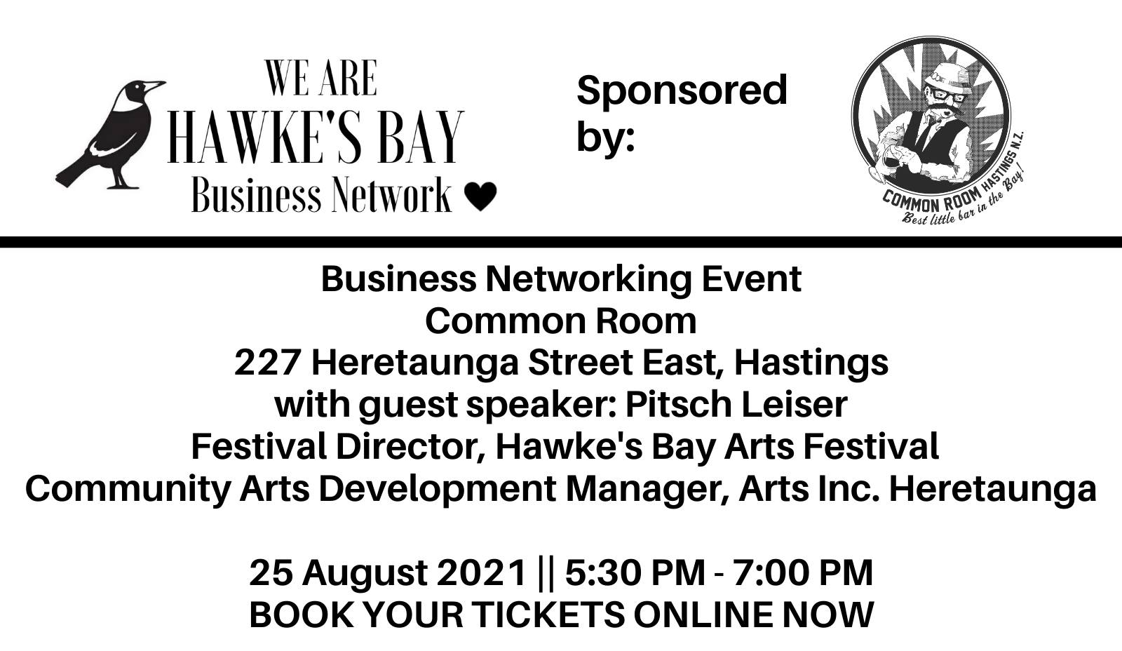 Business Networking event – 25 August 2021 at Common Room