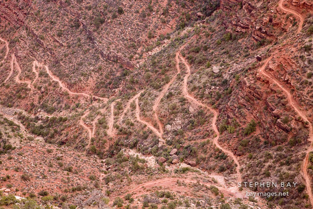 The switchbacks of the Bright Angel Trail