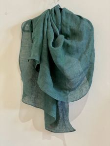 handmade linen gauze scarf in peacock (teal) colour