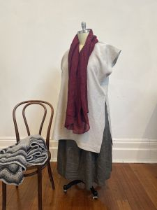 Plus sized linen tunic - yarrow tunic in natural linen with red linen scarf