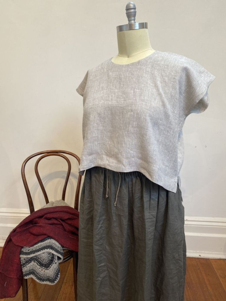 Yarrow top in natural linen - plus size linen top